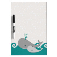 Cute Moma and Baby Whale on the Waves Dry Erase Boards