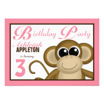 Cute Monkey Pink Birthday Party Invitations