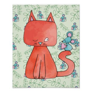 Cute Mouse Loves Kitty Cat Poster