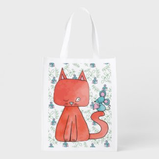 Cute Mouse Loves Kitty Cat Reusable Grocery Bags