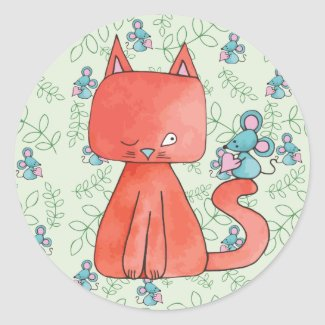 Cute Mouse Loves Kitty Cat Round Sticker