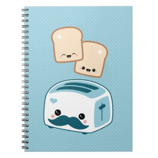 Cute Mustache Toaster Notebook