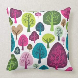 Cute nature tree flower retro pattern throwpillow