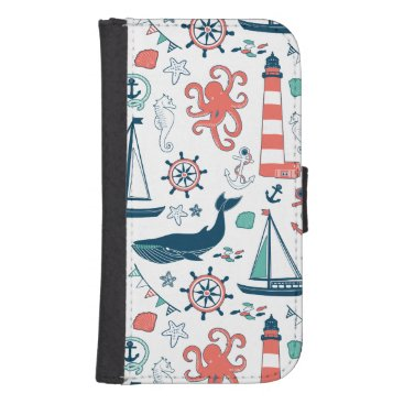 Cute Nautical Animals And Symbols Pattern Galaxy S4 Wallet Case