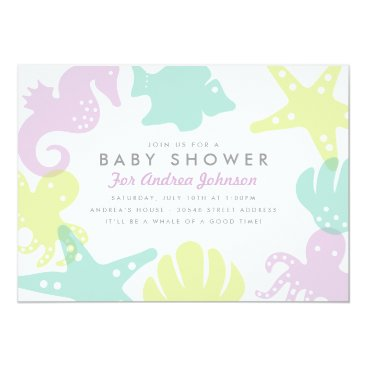 Cute Ocean Critters Baby Shower Invite - Purple