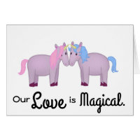 Cute Our Love is Magical Kissing Unicorn Couple Card