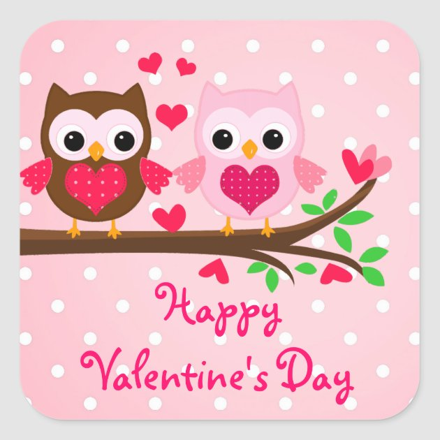 Cute Owl Couple I Love You Happy Valentines Day Square
