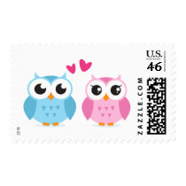Cute owl couple with pink love heart postage stamp