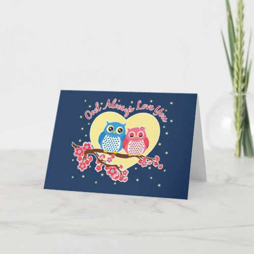Cute Owls - Owls Love You Heart Notecard