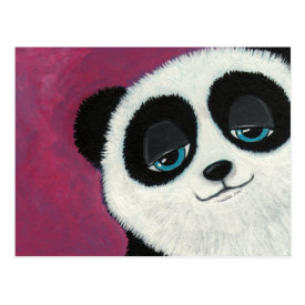 Cute Panda On Pink Postcard