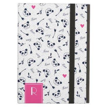 Cute Panda Pattern Monogram Design. Case For iPad Air