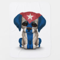 Cute Patriotic Cuban Flag Puppy Dog, White Receiving Blanket