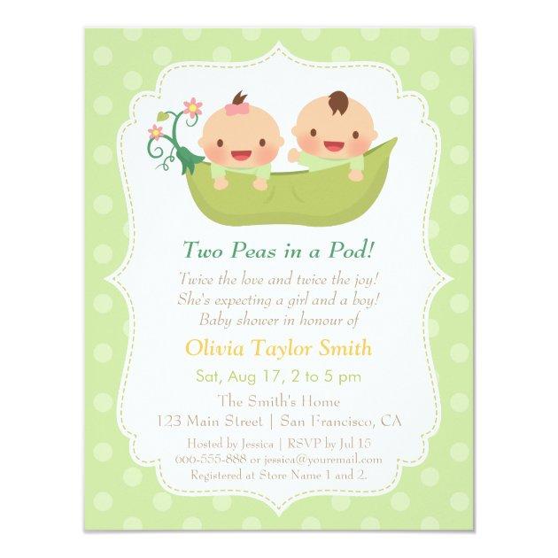 Cute Peas In A Pod Twin Baby Shower Invitations
