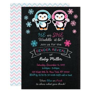 Cute Penguin Chalkboard Gender Reveal Card