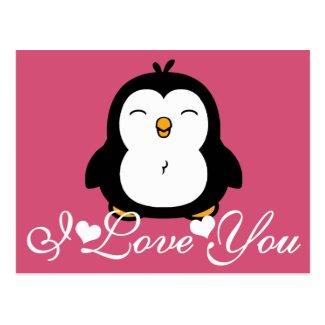 Cute Penguin I Love You Post Card