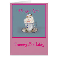 Cute Personalized Syran Hamster cupcakes Birthday Card