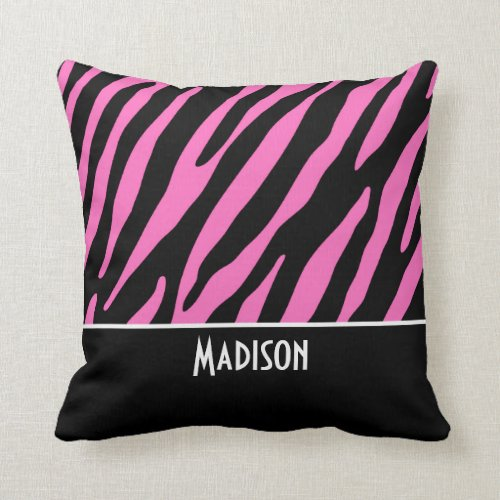 Cute Pink & Black Zebra Stripes Throw Pillow