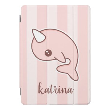 Cute Pink Cartoon Narwhal With stripes iPad Pro Cover