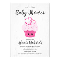 Cute Pink Cupcake Kawaii Baby Shower Invitation