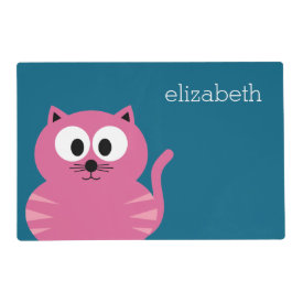 Cute Pink Fat Cat - Blue Background Laminated Placemat