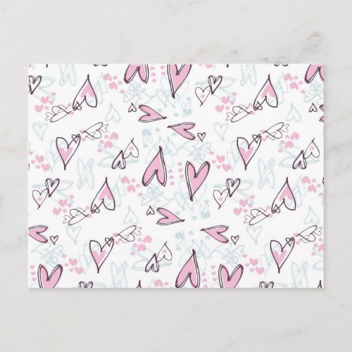 Cute Pink Hearts Love Valentine's Day Design Holiday Postcard