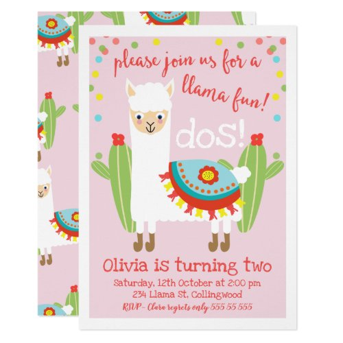 Cute Pink Llama Cactus Birthday Invitation