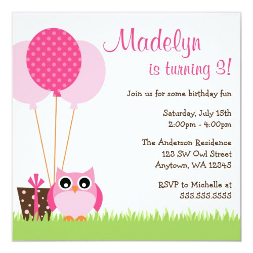 Cute Pink Owl Balloons Birthday Invitations