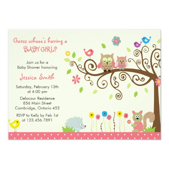 Cute Pink Owl Baby Shower Invitations