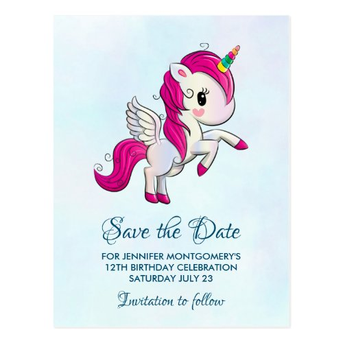 Cute Pink Unicorn with Wings Save the Date Postcard