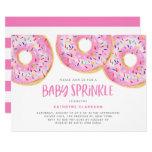 Cute Pink Watercolor Donuts Girl Baby Sprinkle Invitation