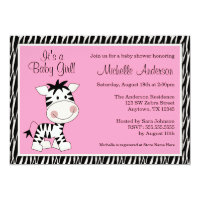Cute Pink Zebra Baby Shower Invitations