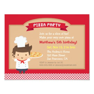 Cute Pizza Chef Boy Birthday Party Invitations