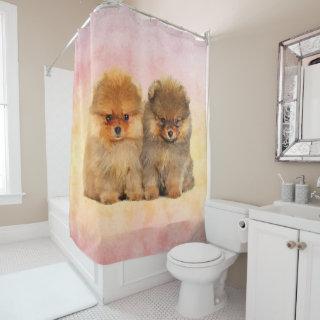 Cute Pomeranian German Spitz  Puppies Shower Curtain