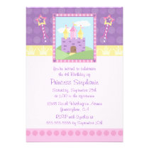 Cute princess party castle birthday invitation