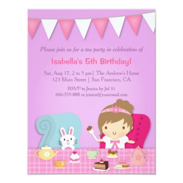 Cute Princess Tea Party Birthday Invitations