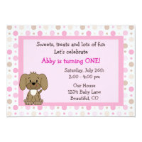 Cute Puppy Dog 1st Birthday Invitation for Girls