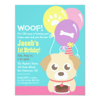 Cute Puppy Dog Themed Kids Birthday Party Card