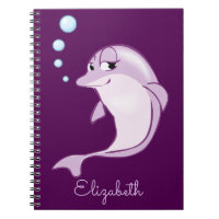 Cute Purple Dolphin Personalized Notebook