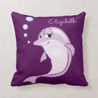 Cute Purple Dolphin Personalized Throw Pillow