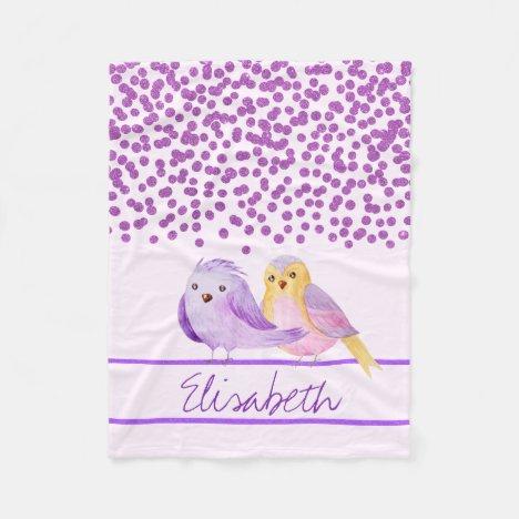 Cute Purple Watercolor Birds Add Name Fleece Blanket
