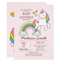 Cute Rainbow Unicorn And Diamonds Baby Shower Card