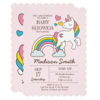 Cute Rainbow Unicorn And Hearts Baby Shower Card