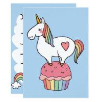 Cute Rainbow Unicorn on Birthday Cupcake Card