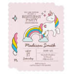 Cute Rainbow Unicorn Sparkles Birthday Invitation