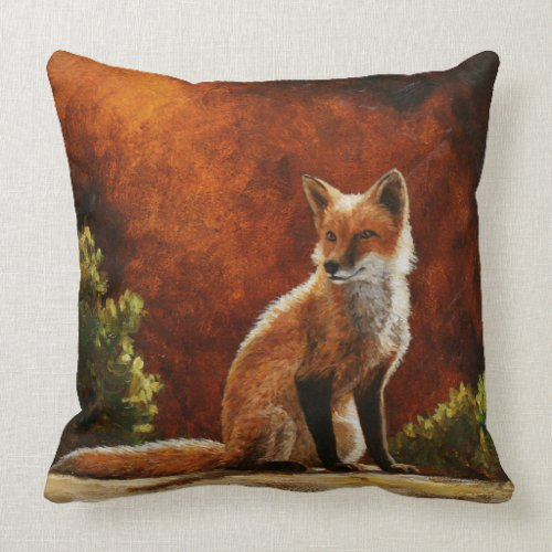 Cute Red Fox Sitting In The Sun Throw Pillow