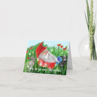 Cute Red, White and Blue Digital Painting Gnome Card