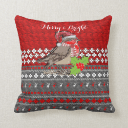 Cute Robin Christmas Themed Home Decor Pillows