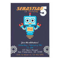 Cute Robot Boys Birthday Party Invitation