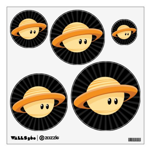 Cute Saturn Planet Wall Decal Zazzle