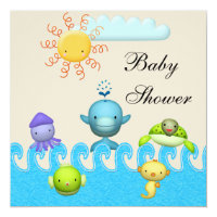 Cute Sea Animals Baby Shower Card